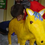 Pony and artist at Netherton C of E Primary School