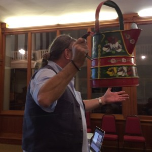Graham Fisher MBE in full flow demonstrating can artefacts at the Civic Society