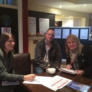 Lynn Glazzard (BMet College), Shane Birch-Bastock (Pentax Developments) and Julie Stepney (Brierley Hill market) planning the planting plots.