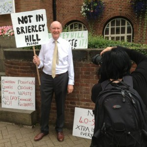Campaigner Tim Lee protests against waste proposal for Brierley Hill